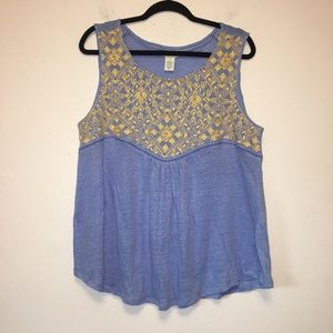 Sundance Blue and Yellow Embroidered Linen Top
